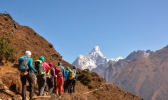 Trekking on Everest - Trekkers are on the way to Everest Base camp trek.