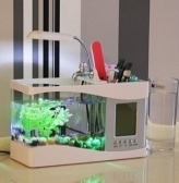 USB LCD Desktop Lamp Light Fish Tank Aquarium LED Clock Fishbowl