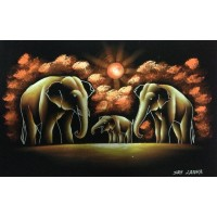 Elephants at the dawn